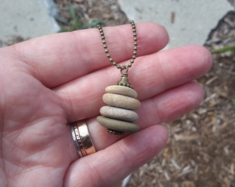 Zen Cairn | Stacked Beach Rock Pendant in French Vanilla Hues