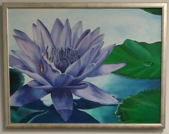 "Hand Painted Oil Painting Water Lily Purple 18"" x 24"" Stretched Canvas 1"" Frame  Fine Art Handmade"