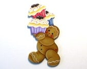 Ginger Holding Cupcakes Fridge Magnet or Ornament, Handpainted Wood Gingerbread