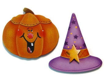 Set of 2 Halloween Pumpkin, Witch's Hat Fridge Magnets or Ornaments, Handpainted Wood, Hand Painted Refrigerator Magnets, Tole Painting