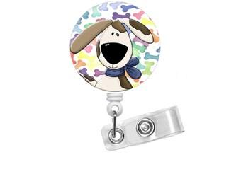Colorful Dog Badge Holder -  Puppy Badge Holder - Vet Badge - Veterinarian Badge Holder - Vet Tech Badge - Adopt a Pet Badge - Hound Dog ID