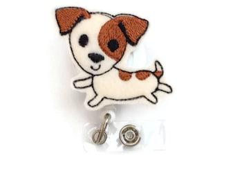 Jack Russell Terrier Retractable ID Badge Reel - Name Badge Holder - Vet Badge Reel - Nurse Badge Holder - Stocking Stuffer - Teacher Badge