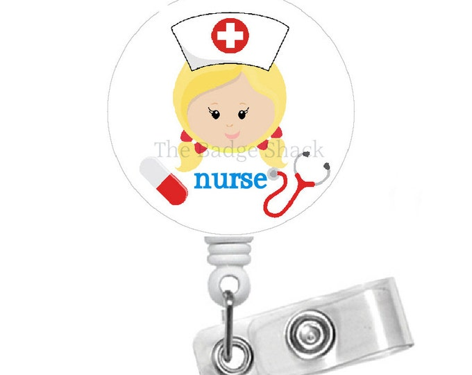 Blonde Nurse  - Name Badge Holder - Retractable ID Badge Reel  - Nurse Badge Holder - Nursing Badge Holder - RN - LPN - Gift for Her