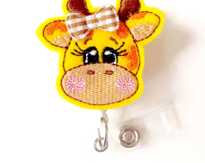 Giraffe with Bow - Retractable ID Badge Reel - Teacher Badge Holder - Cute Badge Reel - Nurse Badge Holder - Nursing Badge Clip - Felt Badge