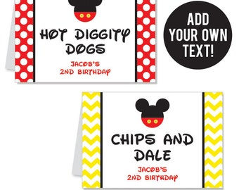 INSTANT DOWNLOAD Mickey Mouse Party Buffet Cards - EDITABLE Printable File
