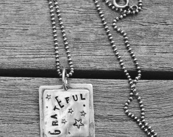 """GRATEFUL hand stamped Sterling silver oxidized Necklace Charm 18"""" dark Sterling Ball Chain Rustic Pendant"""
