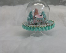 Unique putz houses related items etsy for Mica decoration cloche