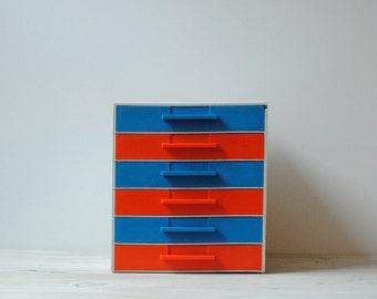 Vintage Drawer Chest, Drawer Box with Six Drawers in Red and Blue, Mid Century Retro Drawers