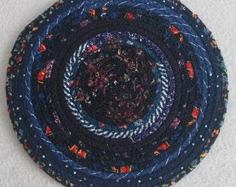 Fabric Coiled Mat / Trivet / Hot Pad / Mug Rug / Midnight Blues Round / by PrairieThreads
