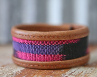 CUSTOM HANDSTAMPED CUFF - bracelet - personalized by Farmgirl Paints - brown leather cuff with pink and purple fabric middle