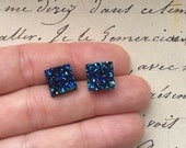 Metallic Blue Druzy Earrings, Sparkly Galaxy Earrings Crystal Earrings Sparkly Blue Square Druzy Studs Geometric Posts Square  Stud Earrings