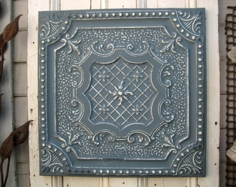 Antique Ceiling Tile. 2'x2'  Texas vintage architectural salvage.  FRAMED blue wall decor. Metal wall art. Blue tile. Old metal wall decor.