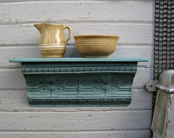 Antique ceiling tin wall shelf aqua.  Architectural salvage shelf.  Bathroom kitchen shelf. Shabby.  Floating shelf.  Vintage shelf.
