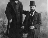 Male Bearded Victorians Two Dapper Men Beards Victorian Top Hats Beard Same Sex Couple Gay Vintage Cabinet Card Photography Photo