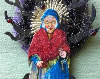 Vintage Look Witch Halloween Ormament-Vintage German Scrap Witch, Tinsel, German Dresdens, Purple Spun Glass