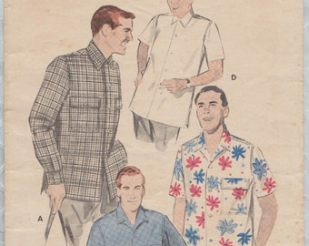 Butterick 7998 / Vintage 50s Sewing Pattern For Men / Mans Sport Shirt / Size Medium
