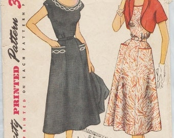 Simplicity 4651 / Vintage 1950s Sewing Pattern / Dress and Bolero / Size 18 Bust 36