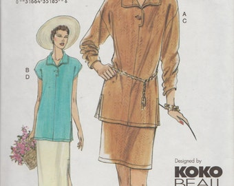 Very Easy Vogue 7612 / Sewing Pattern By Koko Beall / Skirt And Blouse / Sizes 14 16 18
