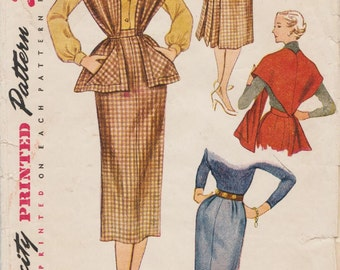 Simplicity 3655 / Vintage 1950s Sewing Pattern / Skirt And Stole / Waist 28