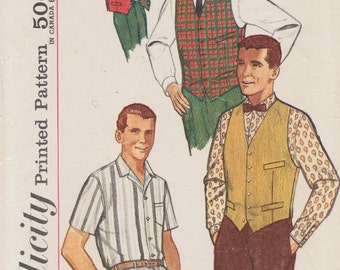Vintage Mens Sewing Pattern / Simplicity 4160 / Mans Shirt And Vest / Size 42 Chest / 16 Neck