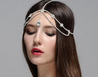 Marina Boho Bohemian Goddess Vintage Jeweled Gatsby wedding Headband Head Piece Forehead Headdress