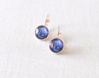Tree Earrings. Tree Silhouette Earrings. Night Sky Earrings. Dreamy Earrings. Rose Gold Tone Glass Dome Earrings.