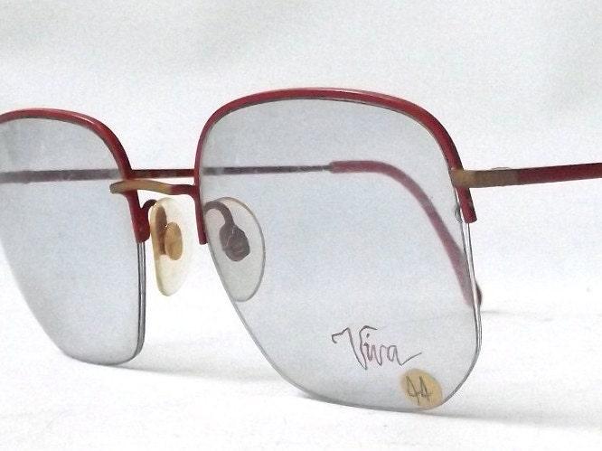 vintage 80\'s half rim eyeglasses square red metal frames matte gold ...