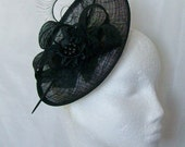 Black Upback Saucer Sinamay Loop Curl Feather & Pearl Crystal Gothic Fascinator Hat- Made to Order - Royal Ascot -Derby