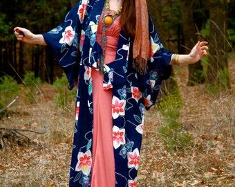 Cotton Japanese Kimono... Asian Kimono Robe... Floral Print