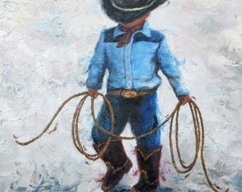 Little Cowboy Original Oil Painting, boys room, lasso, little boy, western wall art, cowboy boots, boys nursery wall art, Vickie Wade