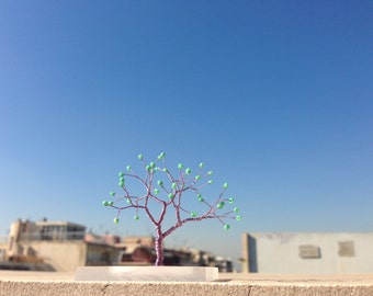 lilac sea green miniature art tree plexiglass base - whimsical minimal purple blue green wire tree art statue - minimalistic home decoration