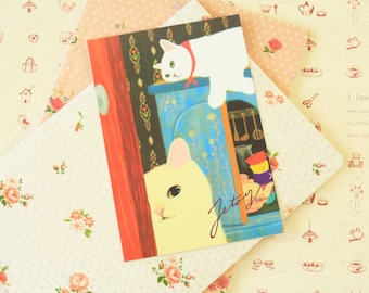 Room 09 Choo Choo Cat Postcard