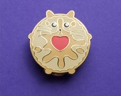 Jammie Dodger Cat - Cat Pin - Cookie Cat Pin - Enamel Cat Brooch - Lapel Pin - Cat Brooch - Cat Lover Gift - Hard Enamel Jammy Doger