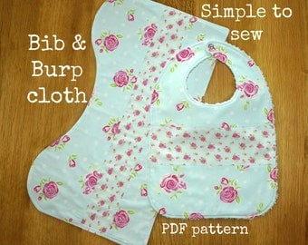 Baby sewing pattern, Baby burp rag pattern, Burp pad pattern, Baby Bib pattern, Bib tutorial - Classic Bib and Burp Cloth (S122)