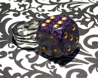 Dice RIng - Purple Speckled Dice Ring - Bunco Jewelry - Casino - Lucky Ring - Gift - Under 10 dollars - Bunco Party
