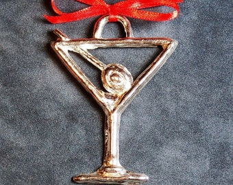 Martini Glass Pewter Ornament