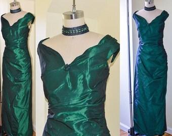 Vintage Evening Dress, Emerald Green Wiggle Dress, Formal Dress, Sequined Gown