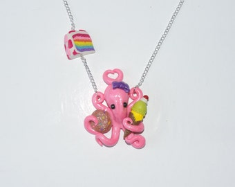 Pink sweet tooth sugared octopus necklace, donut, rainbow layer cake, chocolate chip cookie, ice cream cone