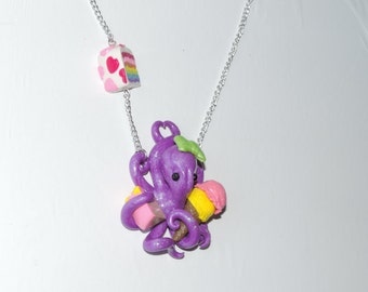 purple sweet tooth sugared octopus necklace, donut, rainbow layer cake, ice cream cone