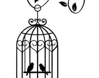 Love birds bird cage with vine vinyl wall decal