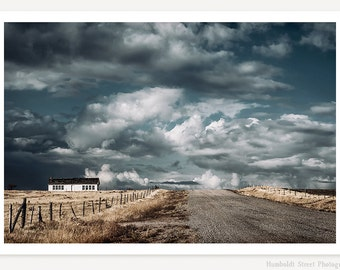 Dark Sky - Abandoned Farmhouse Photograph - Wyoming Landscape Photography - Rustic Farmhouse Decor - Old West Road Photo - Storm Photography