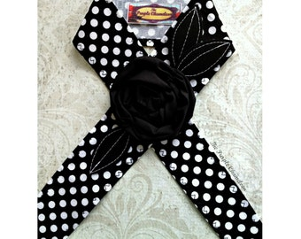Black and White Polka Dot Headwrap Flower Headwrap  Flower Headband Retro Pin Up Tichel Accessory Headcover