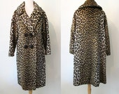 "Luscious 1950's Faux Leopard Fur Swing Coat by ""Kilimanjaro"" Vintage Chic Rockabilly VLV Pinup Girl Vixen Sex Kitten Size-Medium"
