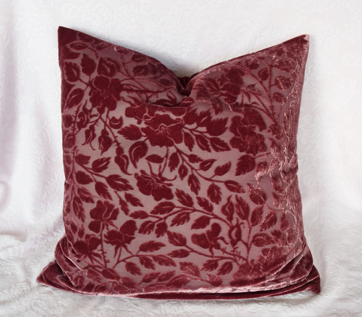Throw Pillows For Burgundy Couch : VELVET THROW PILLOW Burgundy Wine Rose Burnt Out Burned Fabric