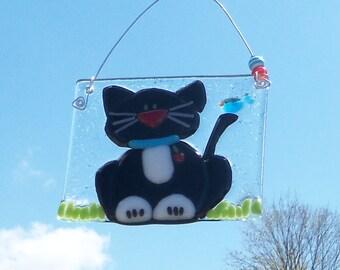 BLack Cat // Fused GLass Suncatcher // Fused Glass Blue Bird of Happiness // Kitty // Pet // Colorful // Halloween // Sun Catcher // Cute
