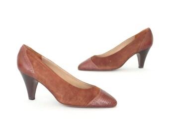 Vintage Spectator Pumps * Spectator Shoes * 70s Heels * size 7 N