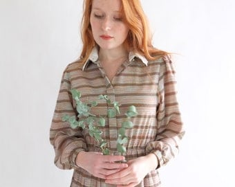 Celadon dress with copper and olive stripes, Japanese vintage, small