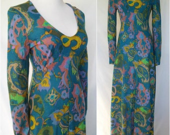 Late 1960s/Early 1970s Ikat Print Maxi Dress, Empire Waist, Acrylic Knit, Peacock Blue, Small/Medium