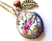 Three birds photo locket necklace with crystal Czech and leaf charm