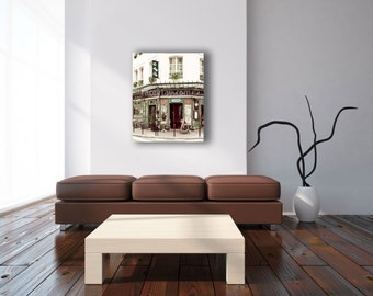Paris Photography on Canvas Wall Art - Le Petit Zinc Cafe Print - Green Beige - Large Canvas Art